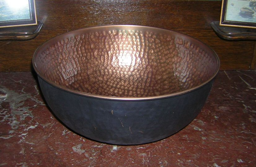 Aged Hammered Copper Bowl Hoover House